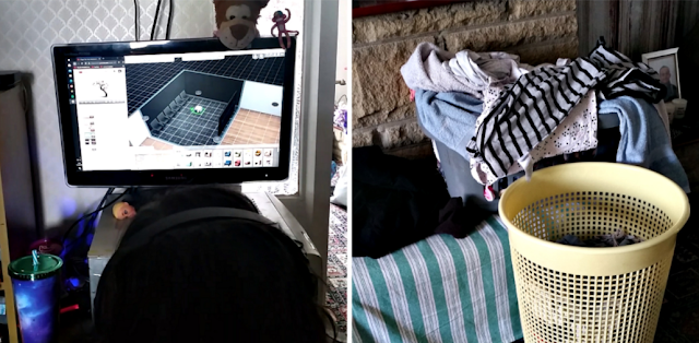 My youngest playing The Sims on her PC and a pile of washing waiting to be folded and put away.