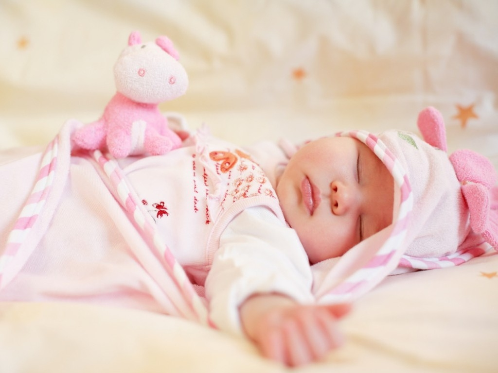 Cute Baby Little Cute Baby Sleep With Pink Teddy And Dress Hd Wallpaper