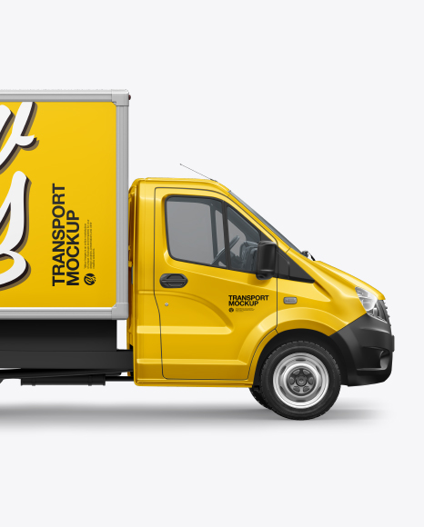 Download Download Box Truck Mockup - Side View PSD