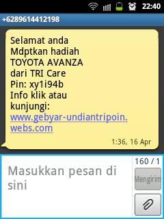 SMS Undian Berhadiah dari TRI