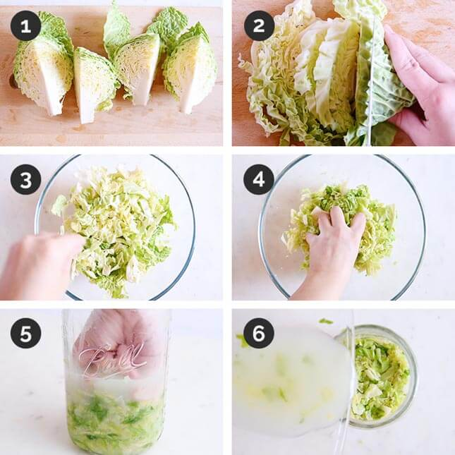 Step by step photo of how to make sauerkraut