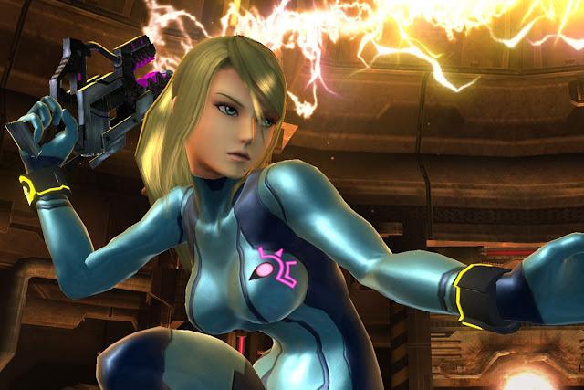 Samus Aran a blonde girl wearing zero suit and a special gun