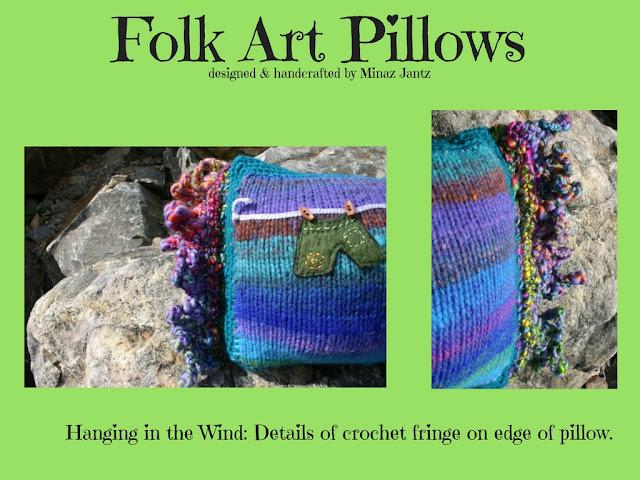 Folk Art Pillow: Hanging in the Wind by Minaz Jantz