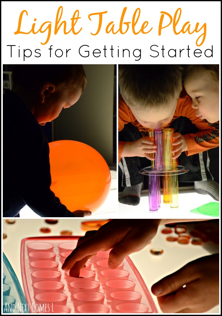 Tips on how to introduce light table play to babies, toddlers, and preschoolers {a guide to light table play} from And Next Comes L