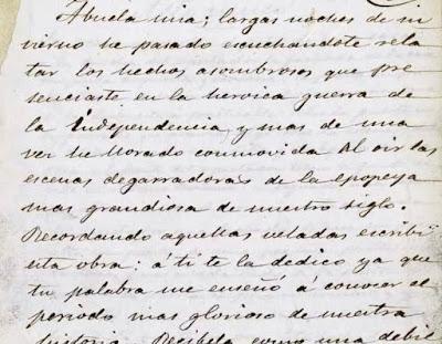 Fragmento de Amor a la patria, manuscrito que se conserva en la Biblioteca Nacional