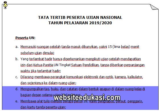 Tata Tertib Peserta UN Tahun 2020
