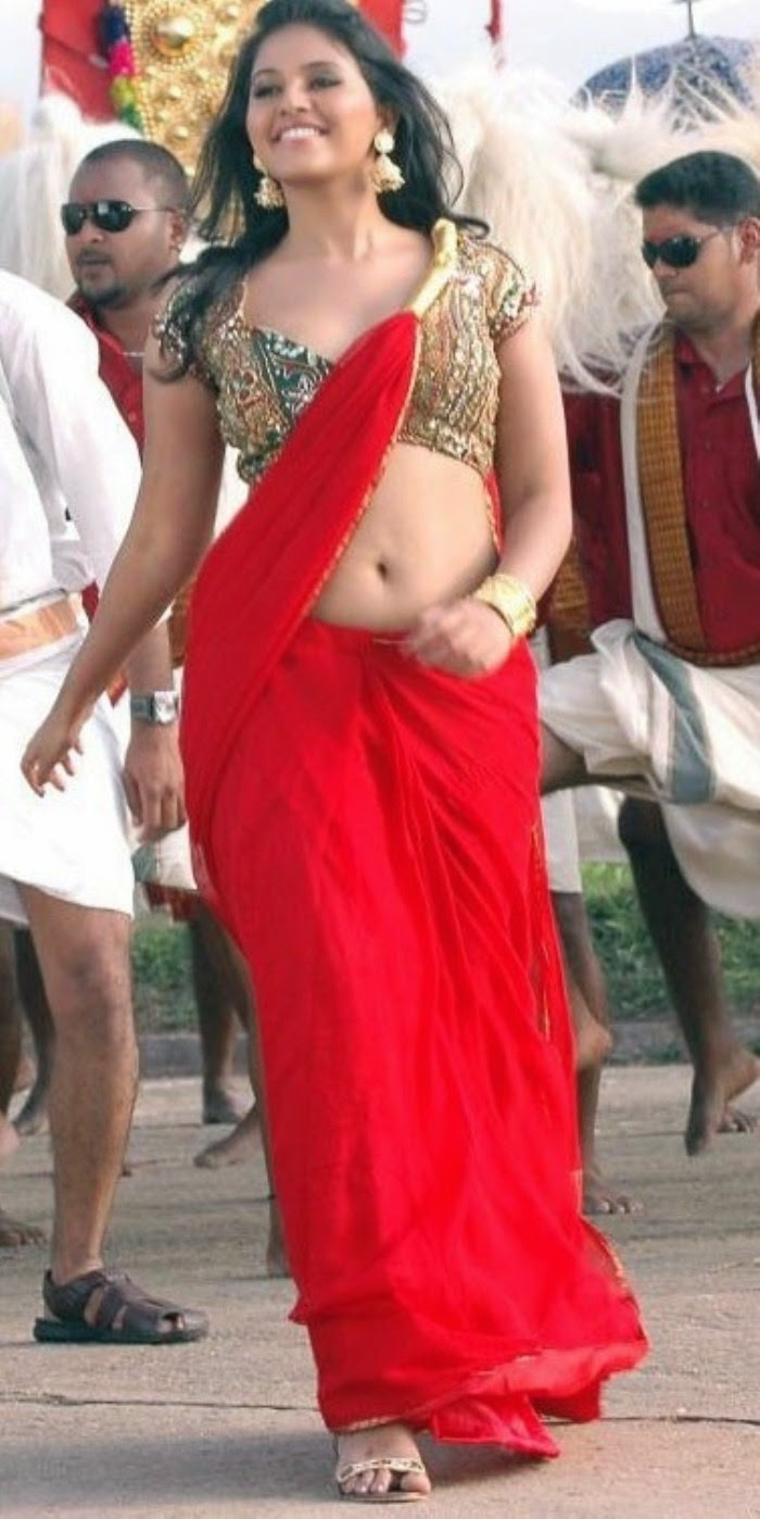 Hot Navel Show Photos Of Anjali In Red Saree