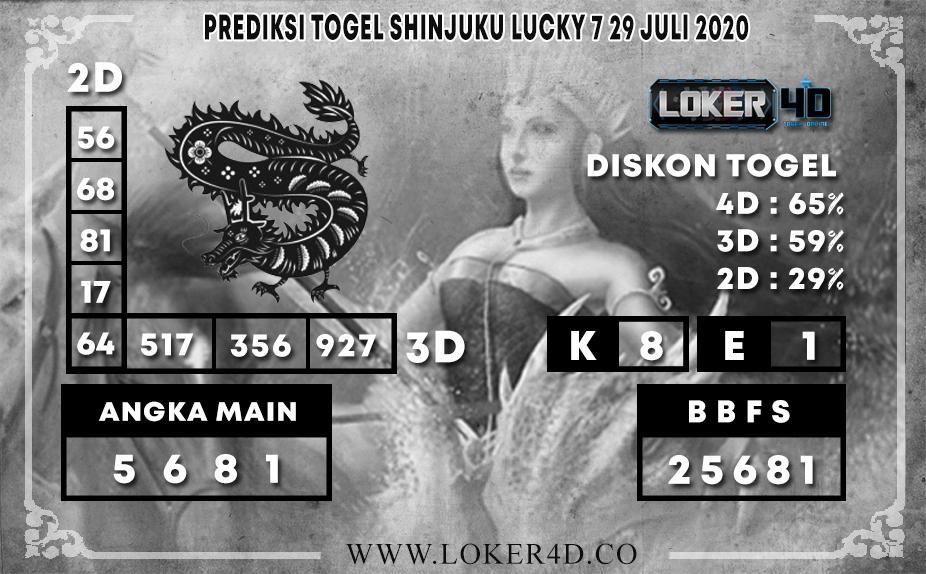 PREDIKSI TOGEL LOKER4D SHINJUKU LUCKY 7 28 JULI 2020