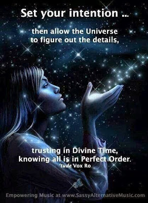 """Set your intention... then allow the Universe to figure out the details, trusting in Divine Time, knowing all is in Perfect Order."" ~ 'tude Vox Ro Picture of a woman blowing stars into the universe. Empowering Music at www.SassyAlternativeMusic.com"