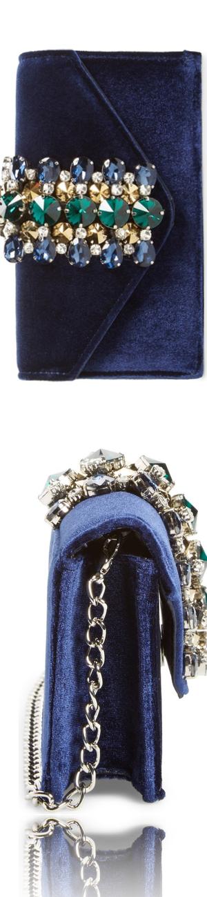 Sondra Roberts Crystal Embellished Velvet Box Clutch
