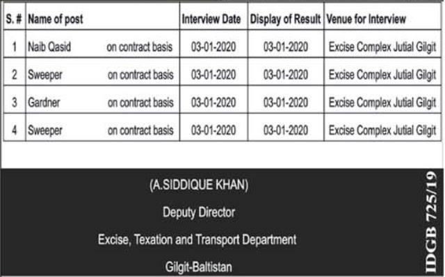 Excise Taxation and Transport Department Jobs 2020