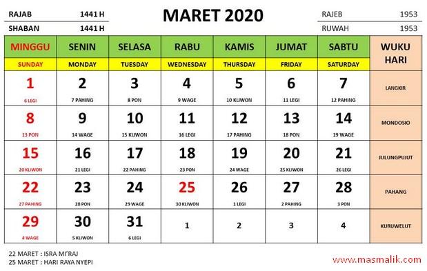 kalender tahun 2020, maret