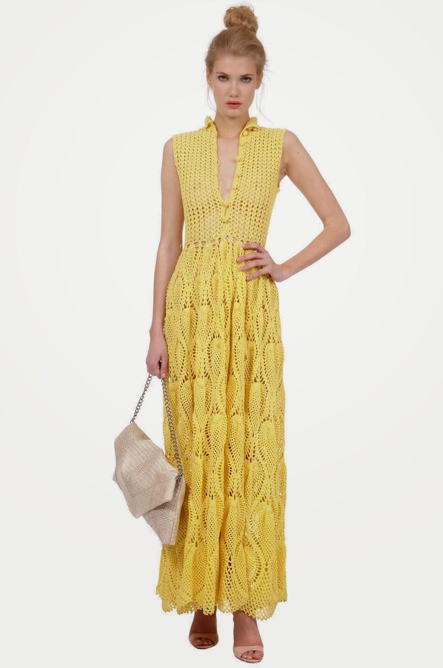 aa1578ed8 crochelinhasagulhas: Vestido amarelo de crochê