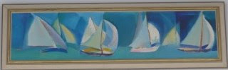 Quirk Painting Sailboats, Francis J. Quirk, Artist Quirk, Cubist Painting