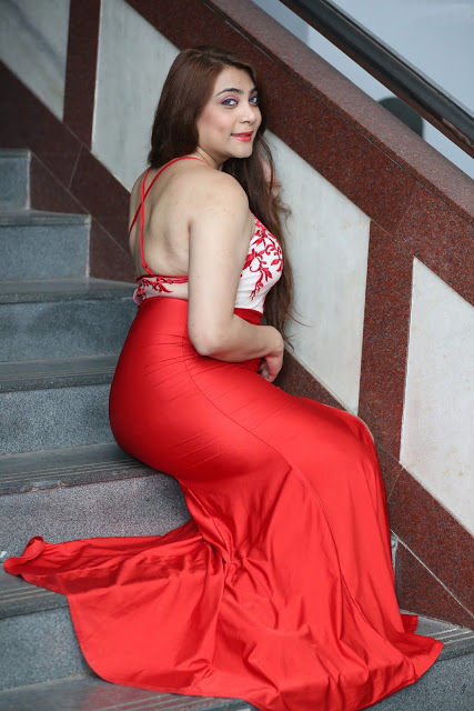 Dyana Shiffaire Super Hot In Red Sexy Gown