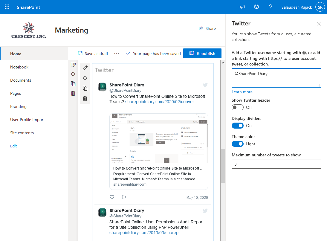 sharepoint online add twitter feed