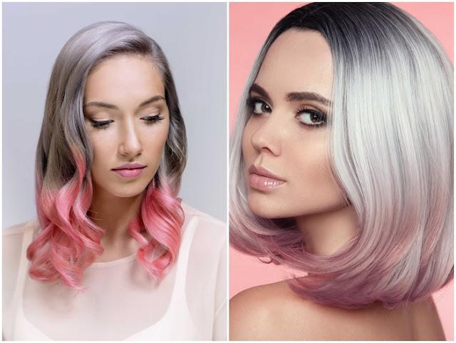 Model cat ombre abu dan pink meupakan ombre populer ditahun 2020