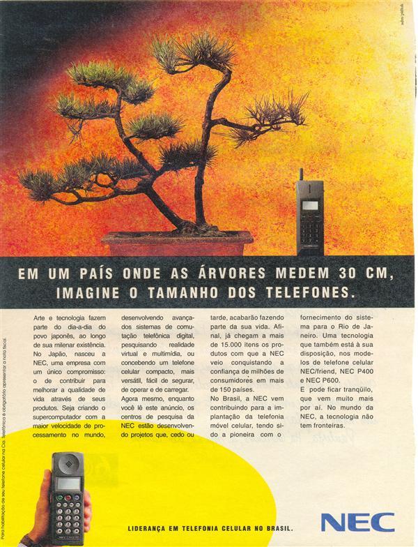 Propaganda antiga do telefone celular NEC veiculada em 1993
