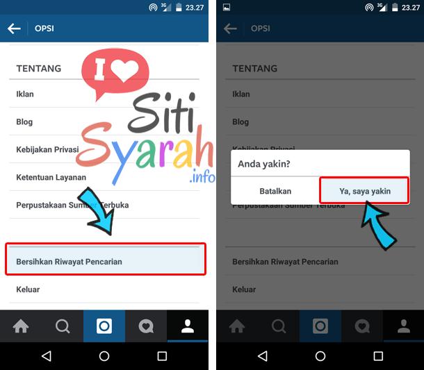 hapus riwayat pencarian instagram
