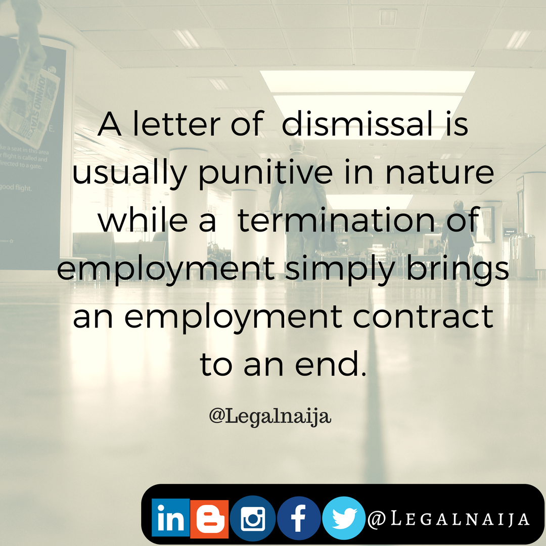 Difference between letter of dismissal letter of termination it is important to note that an employment relationship cannot be forced upon either an unwilling employer or employee therefore an employer has a right spiritdancerdesigns Choice Image