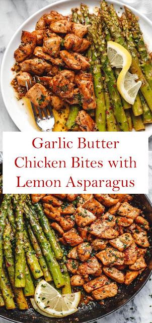 Garlic Butter Chicken Bites with Lemon Asparagus Recipe