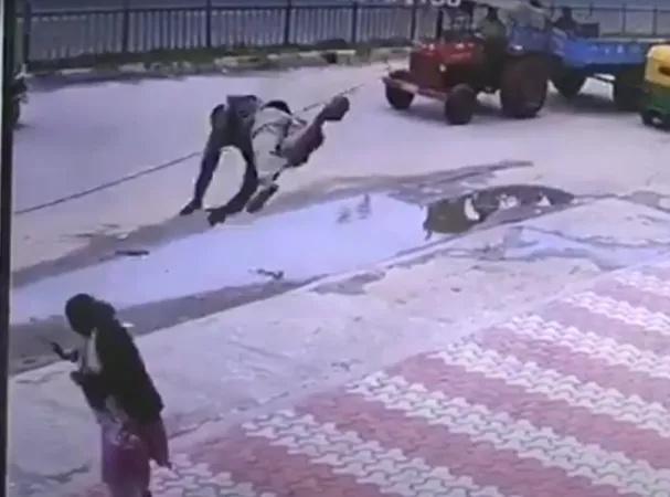 رجل يطير ويصطحب امرأة معه في حادث مروع .....شاهد بالفيديو