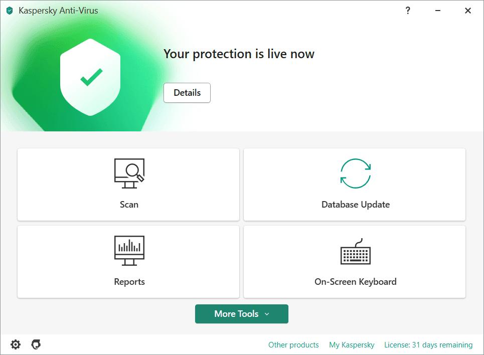 Kaspersky Anti-Virus Main Interface Screenshot