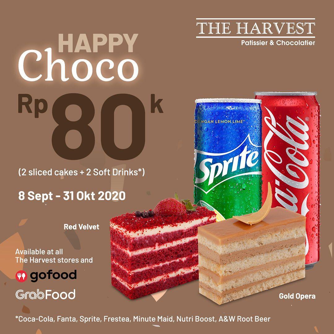 The Harvest Promo Happy Cheese atau Happy Choco - 2 Sliced Cake + 2 Soft Drink Cuma Rp80 ribu!
