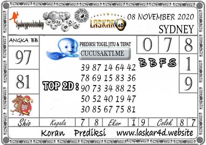 Prediksi Togel SYDNEY LASKAR4D 08 NOVEMBER 2020