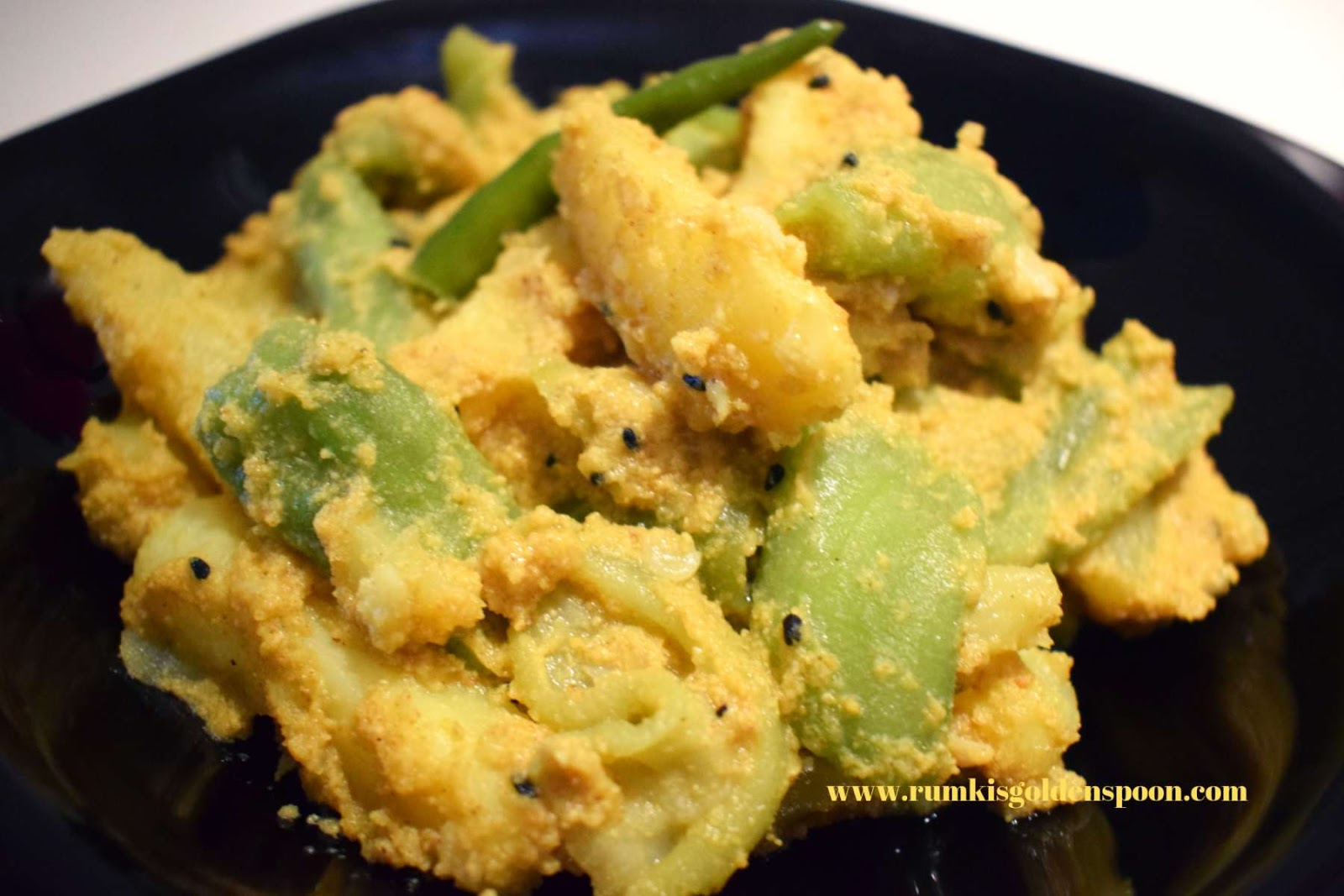 Jhinge aloo posto, jhinge aloo posto recipe, jhinge aloo posto Bengali recipe, how to make jhinge aloo posto, aloo jhinge posto sabji, recipe of jhinge posto, recipe of jhinge, recipe of jhinge aloo posto, Bengali recipe jhinge posto, niramish tarkari recipe, niramish tarkari, niramish recipe, Bengali niramish recipe, bengali traditional food, traditional food of Bengali, traditional bengali food, posto recipe, recipe with posto, poppy seeds recipe, Indian recipe, Bengali recipes, Bengali recipe, Bengali food, homemade Bengali food, bengali veg recipe, bengali vegetable recipe, recipe with jhinge, recipe with ridge gourd, no onion no garlic recipe, Rumki's Golden Spoon