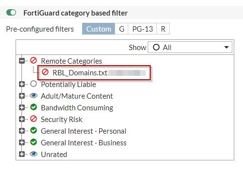 Blacklista adresów domenowych podpięta do filtra DNS w urządzeniu FortiGate