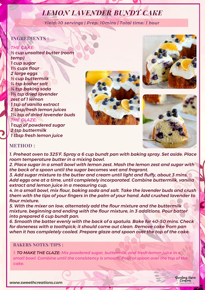 LEMON LAVENDER BUNDT CAKE RECIPE