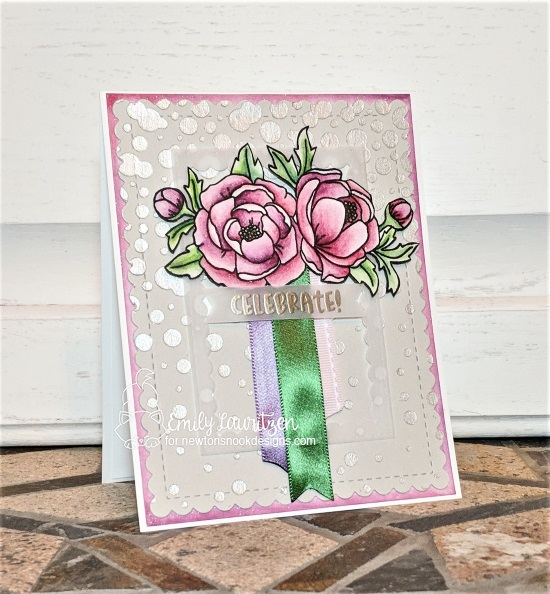 Celebrate by Emily features Peony Blooms, Cocktail Mixer, Bubbly, Frames & Flags, and Frameworks by Newton's Nook Designs; #newtonsnook