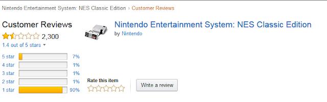 Amazon negative customer reviews Nintendo Entertainment System NES Classic Edition
