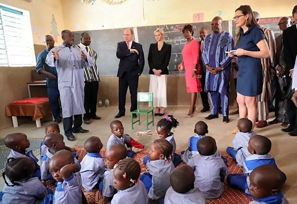 Prince Albert and Princess Charlene at Kosyam Palace and visit Saaba Preschool Education Center, and National Fire Brigade