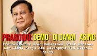 Prabowo Sebut Demo Buruh Didanai Asing