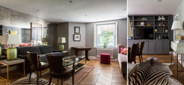 Un interior decorado con una suave pátina color gris para una casa londinense chicanddeco