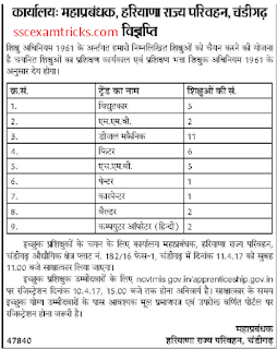 Haryana Roadways Apprenticeship notice