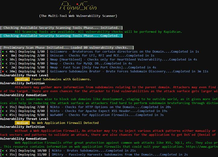 RapidScan - The Multi-Tool Web Vulnerability Scanner