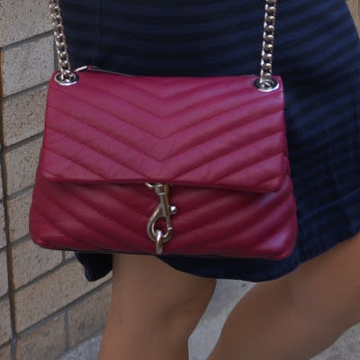 navy stripe dress with Rebecca Minkoff Edie small crossbody bag in magenta | awayfromtheblue