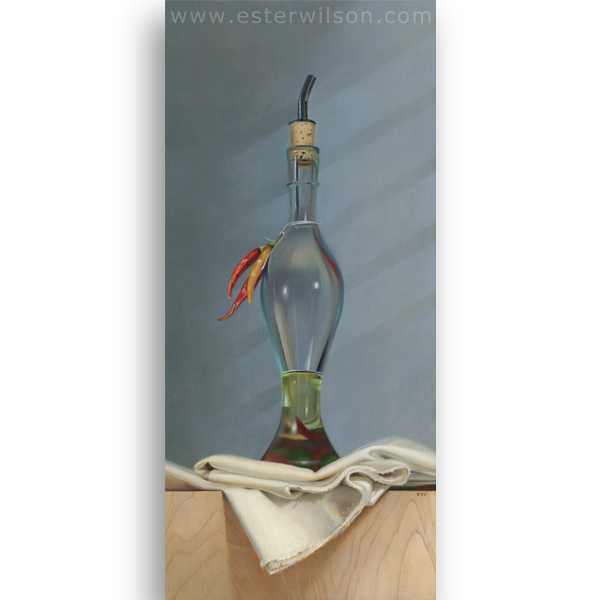 Spiced Oil is an oil painting on a wood panel measuring 11 x 24