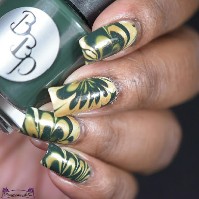 Watermarble Wednesdays: Dark Green & Gold