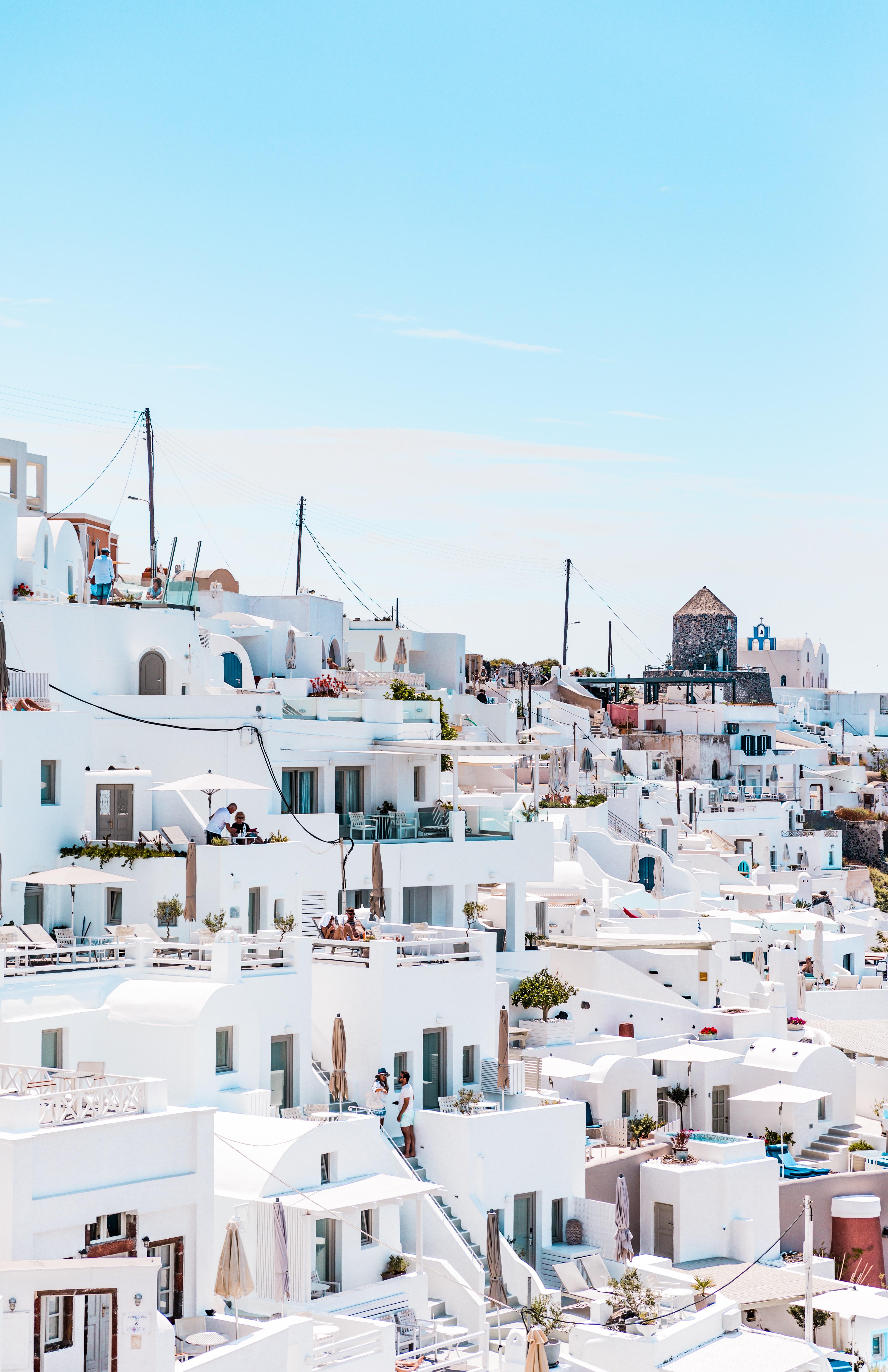 Santorini, Greece buildings on a hill