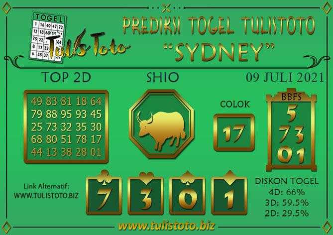 Prediksi Togel SYDNEY TULISTOTO 09 JULI 2021