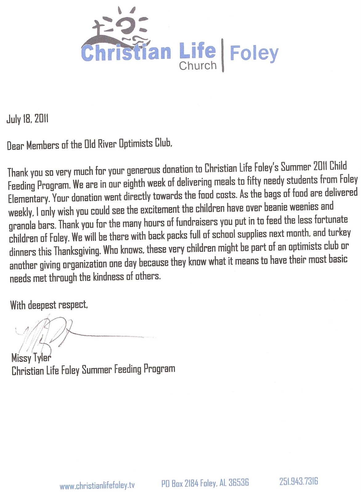 Old River Optimist Club: Thank You Letter from Christian Life Church