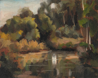 Landscape oil painting of a river bend surrounded by vegetation