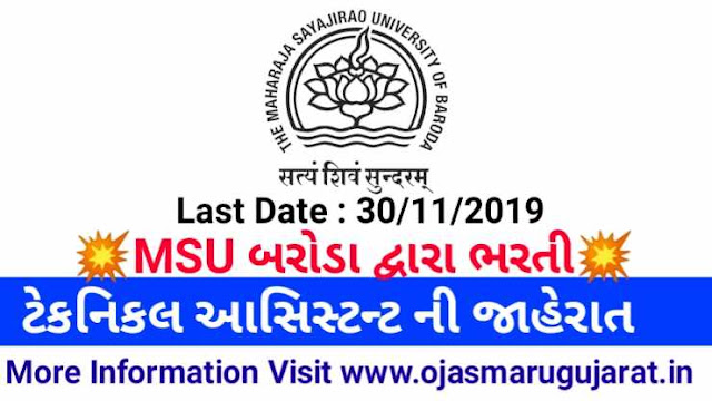 Technical Assistant MSU Baroda Requirements 2019