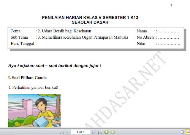Soal Penilaian Harian Kelas 5 Tema 2 Subtema 3 dan Kunci Jawaban