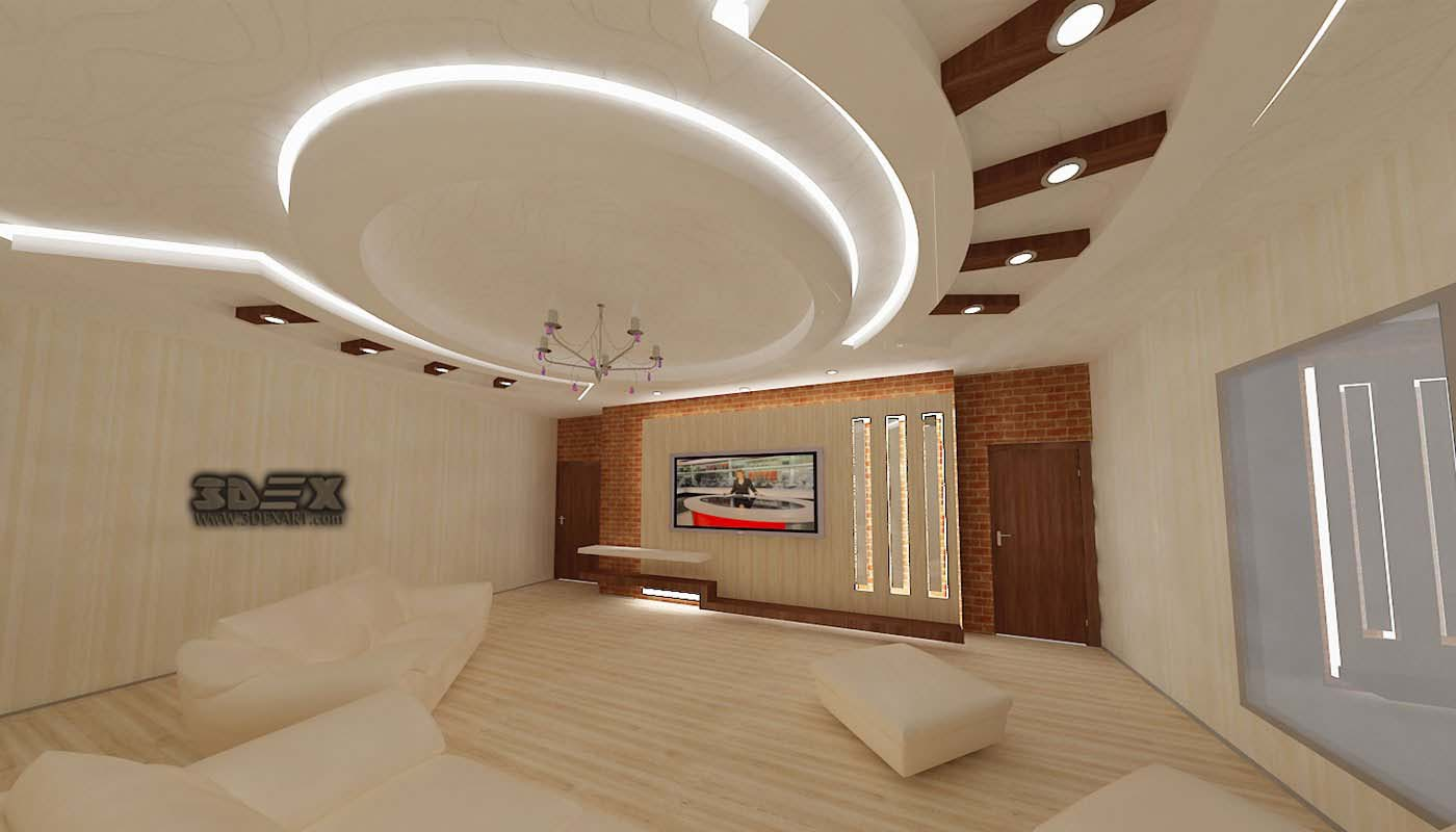 POP False Ceiling Designs 2018 For Living Room Hall With LED Indirect  Lighting Ideas