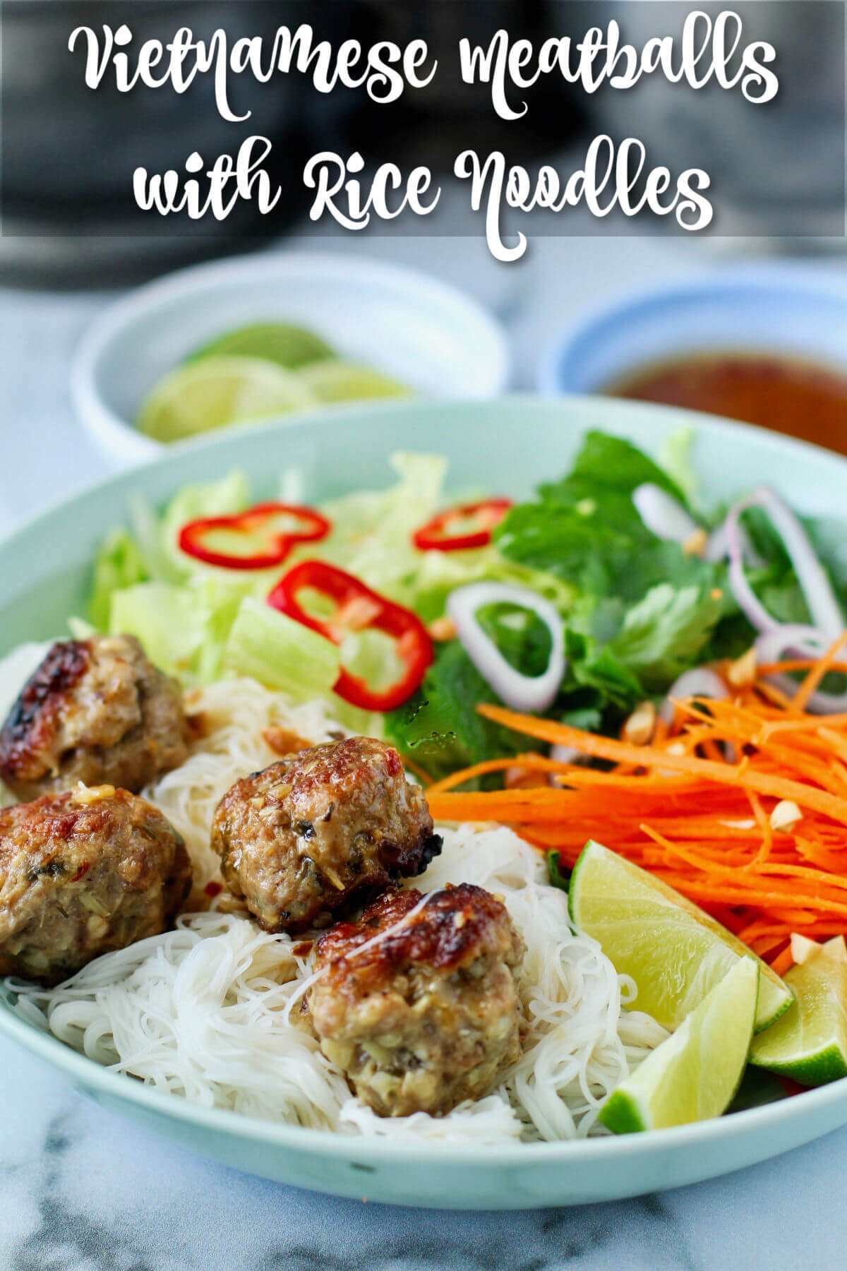 Instant Pot Vietnamese-Style Meatballs with Rice Noodles